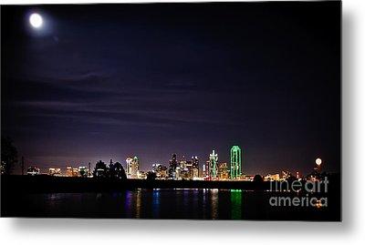 Moon Over Dallas Metal Print by Charles Dobbs