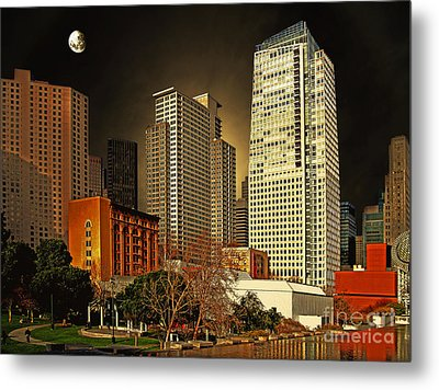 Moon Over Yerba Buena Gardens San Francisco Metal Print by Wingsdomain Art and Photography