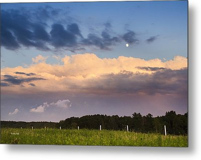 Moon Rise Over Country Fields Sunset Landscape Metal Print by Christina Rollo