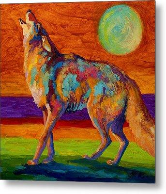 Moon Talk - Coyote Metal Print by Marion Rose