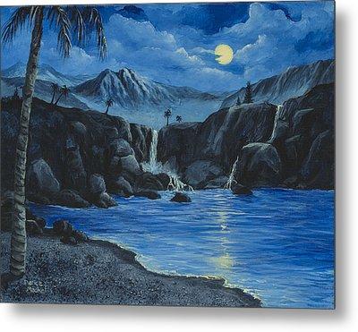 Moonlight And Waterfalls Metal Print by Darice Machel McGuire