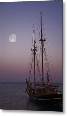 Moonlight In The Med Metal Print by Mark H Roberts