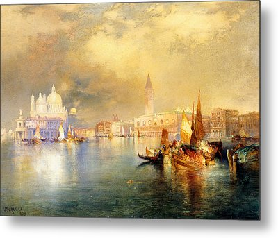 Moonlight In Venice Metal Print by Thomas Moran