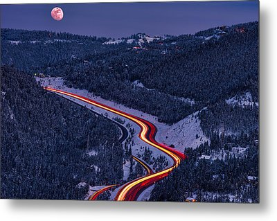 Moonlight On The Mountains Metal Print by Darren White
