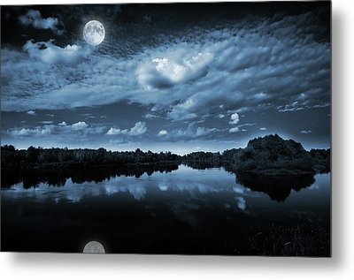 Moonlight Over A Lake Metal Print by Jaroslaw Grudzinski