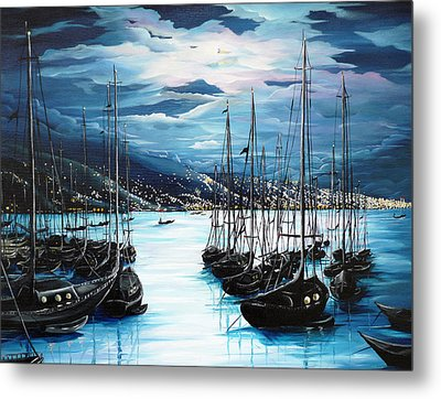 Moonlight Over Port Of Spain Metal Print by Karin  Dawn Kelshall- Best