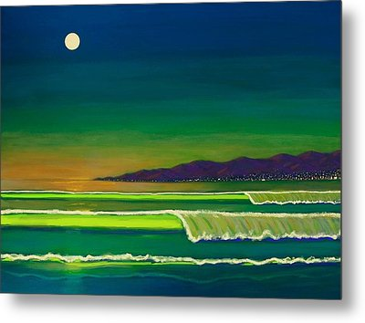 Moonlight Over Venice Beach Metal Print by Frank Strasser