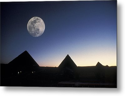 Moonrise Above Giza Pyramids In Egypt Metal Print by Richard Nowitz
