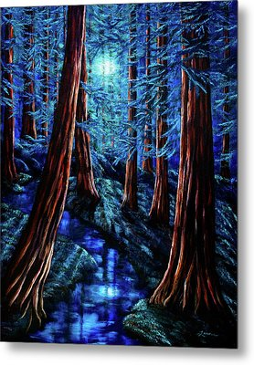 Moonrise Over The Los Altos Redwood Grove Metal Print by Laura Iverson