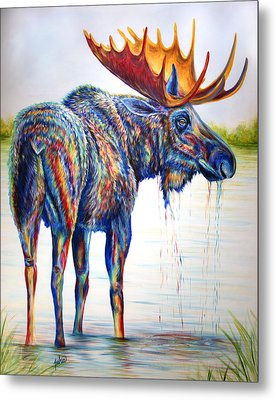 Moose Sighting Metal Print by Teshia Art