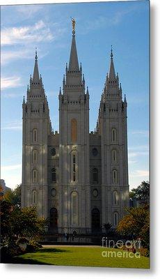 Mormon Temple Fall Metal Print by David Lee Thompson