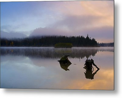 Morning Mist Burning Metal Print by Mike  Dawson
