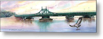 Morning Mist City Island Bridge Metal Print by Marguerite Chadwick-Juner