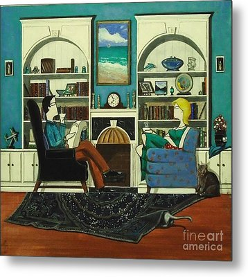 Morning With The Cats While Sitting In Chairs Metal Print by John Lyes
