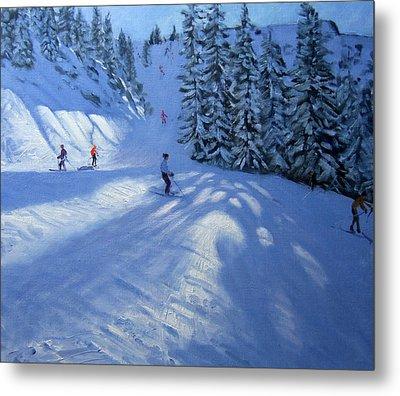Morzine Ski Run Metal Print by Andrew Macara