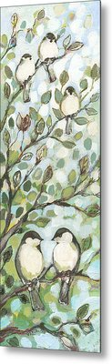 Mo's Chickadees Metal Print by Jennifer Lommers