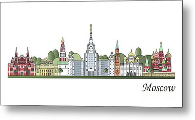 Moscow Skyline Colored Metal Print by Pablo Romero