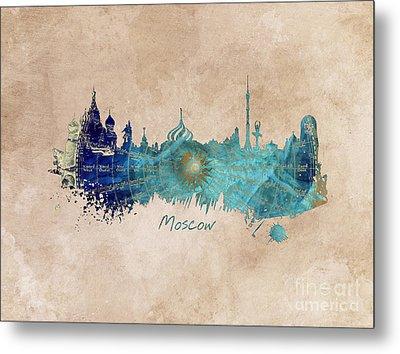 Moscow Skyline Wind Rose Metal Print by Justyna JBJart