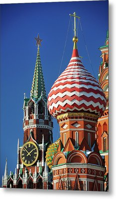 Moscow, Spasskaya Tower And St. Basil Cathedral Metal Print by Vladimir Zakharov