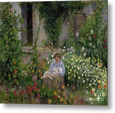 Mother And Child In The Flowers Metal Print by Camille Pissarro