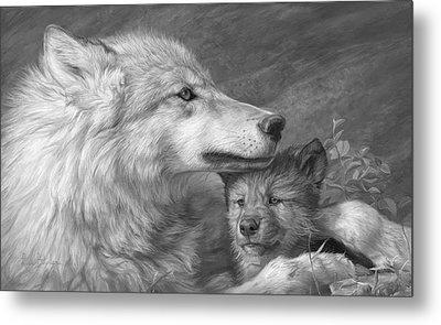 Mother's Love - Black And White Metal Print by Lucie Bilodeau