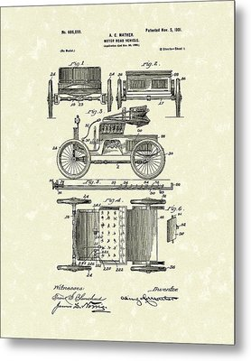 Motor Vehicle 1901 Patent Art Metal Print by Prior Art Design