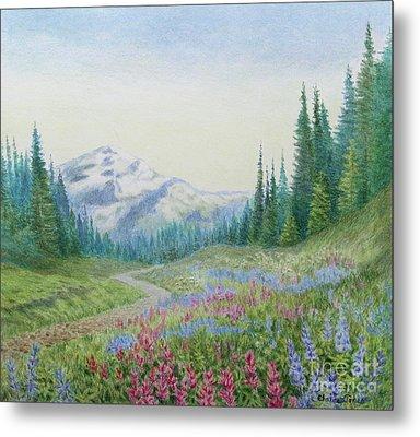 Mount Rainier Wildflowers Metal Print by Elaine Jones