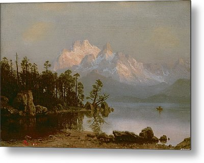 Mountain Canoeing Metal Print by Albert Bierstadt