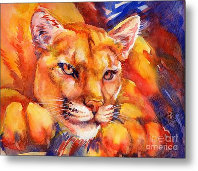 Mountain Lion Red-yellow-blue Metal Print by Summer Celeste