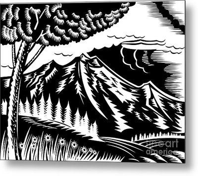 Mountain Scene Woodcut Metal Print by Aloysius Patrimonio