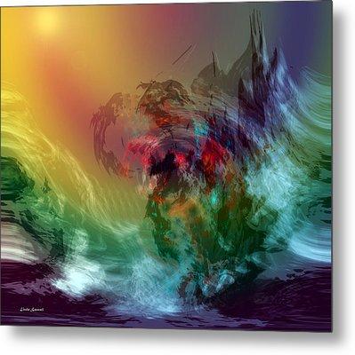 Mountains Crumble To The Sea Metal Print by Linda Sannuti