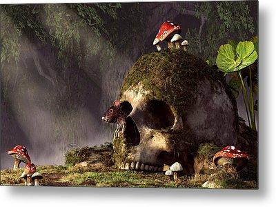 Mouse In A Skull Metal Print by Daniel Eskridge