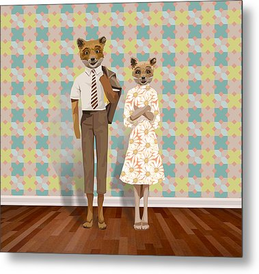 Mr. And Mrs. Fox Metal Print by Rachel Mindes