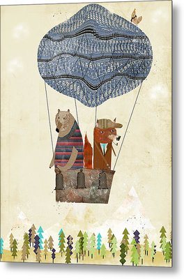 Mr Fox And Bears Adventure  Metal Print by Bri B