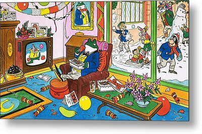 Mr Toad Watching Television Metal Print by English School