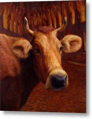 Mrs. O'leary's Cow Metal Print by James W Johnson