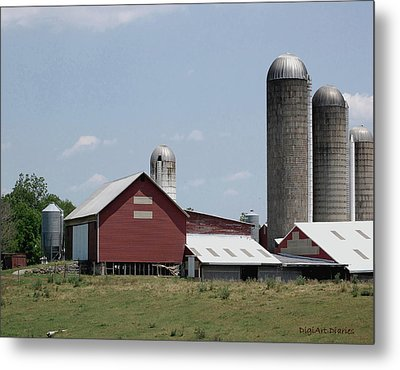 Multi Silo Farm Metal Print by DigiArt Diaries by Vicky B Fuller