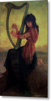 Muse Playing The Harp Metal Print by Antoine Auguste Ernest Hebert