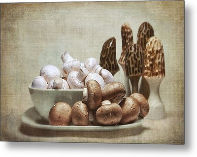Mushrooms And Carvings Metal Print by Tom Mc Nemar