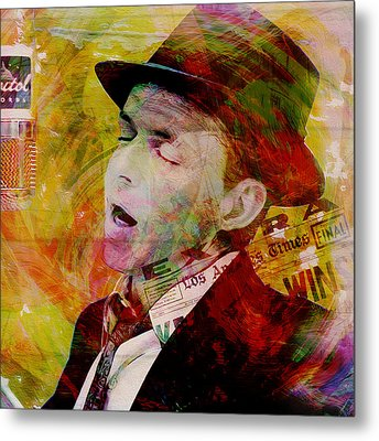 Music Icons - Frank Sinatra Ill Metal Print by Joost Hogervorst