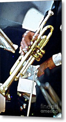 Music Man Trumpet Metal Print by Linda  Parker