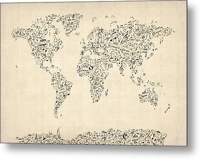 Music Notes Map Of The World Map Metal Print by Michael Tompsett