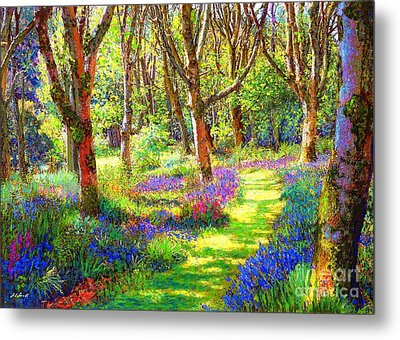 Music Of Light, Bluebell Woods Metal Print by Jane Small
