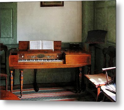 Music Room With Piano Metal Print by Susan Savad