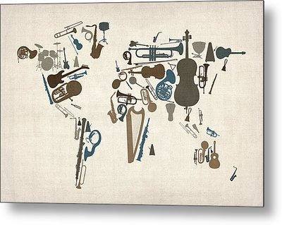 Musical Instruments Map Of The World Map Metal Print by Michael Tompsett