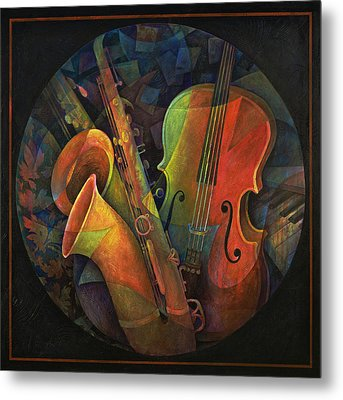 Musical Mandala - Features Cello And Sax's Metal Print by Susanne Clark