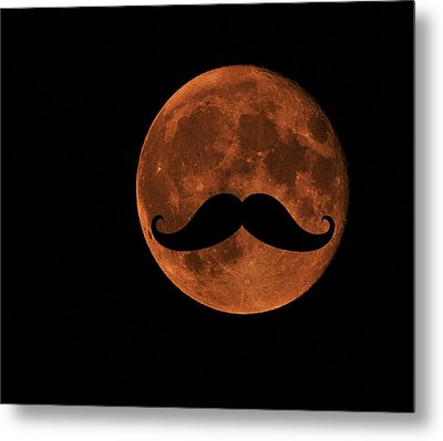 Mustache Moon Metal Print by Marianna Mills