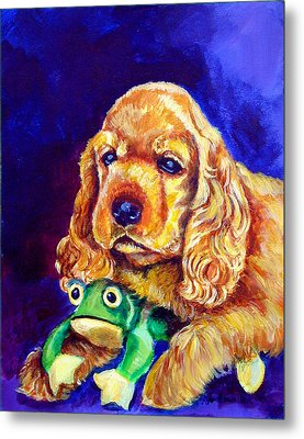 My Froggy - Cocker Spaniel Puppy Metal Print by Lyn Cook