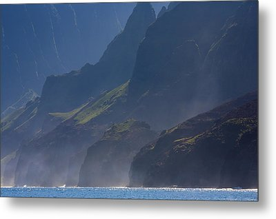 Na Pali Morning Mist Metal Print by Mike  Dawson