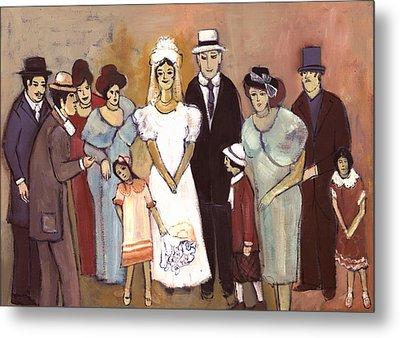 Naive Wedding Large Family White Bride Black Groom Red Women Girls Brown Men With Hats And Flowers Metal Print by Rachel Hershkovitz